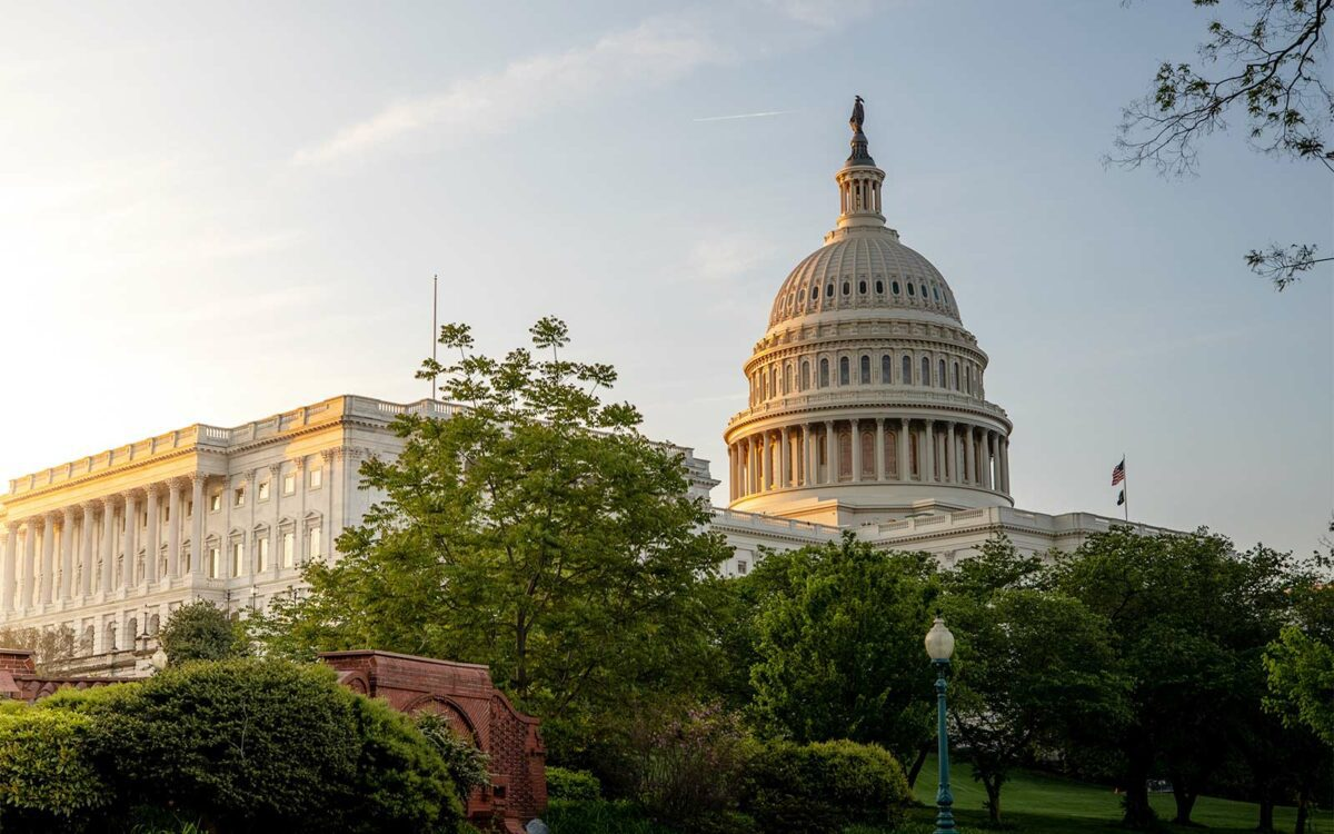 The US capital building at dawn.
