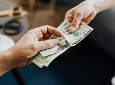 Cash flows in a business transaction.