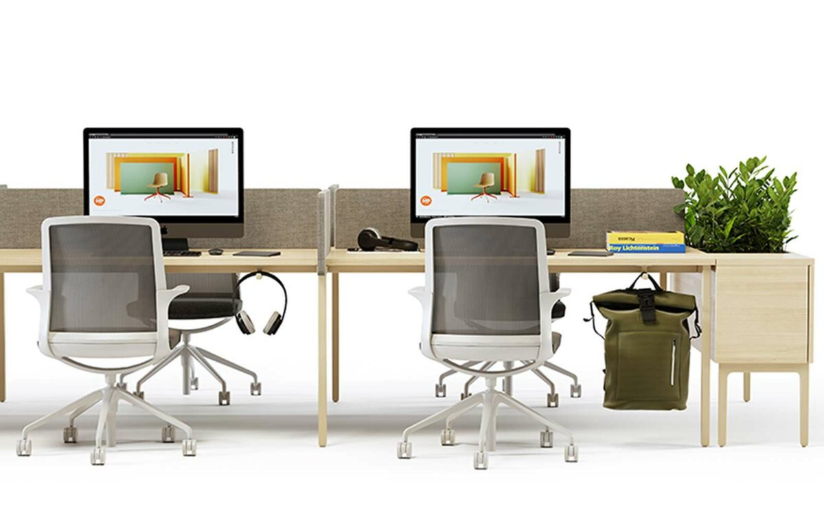 A display of office furniture.