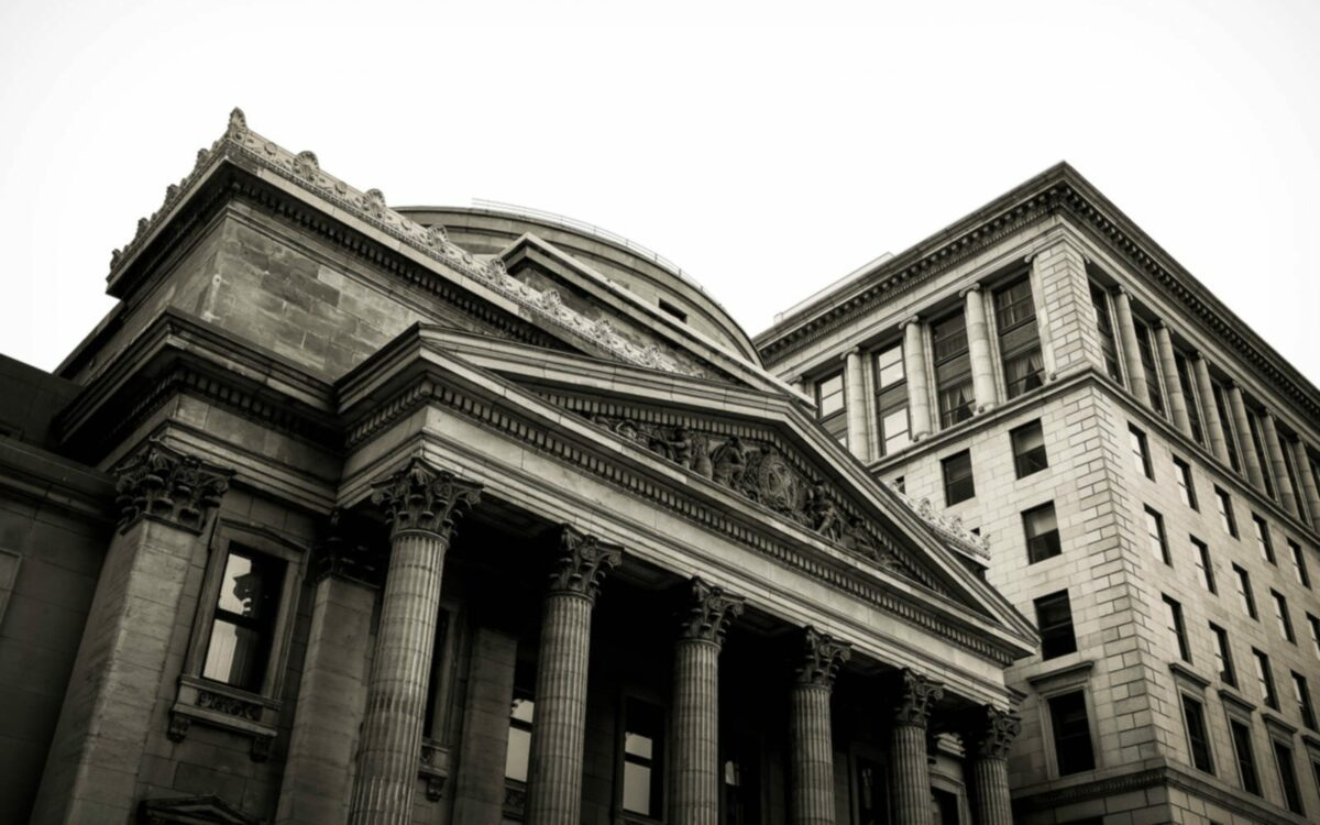 A austere bank against a grey sky.
