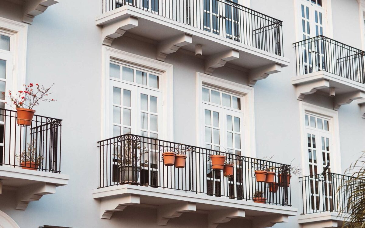 Roses grow on the balcony of a rental property.