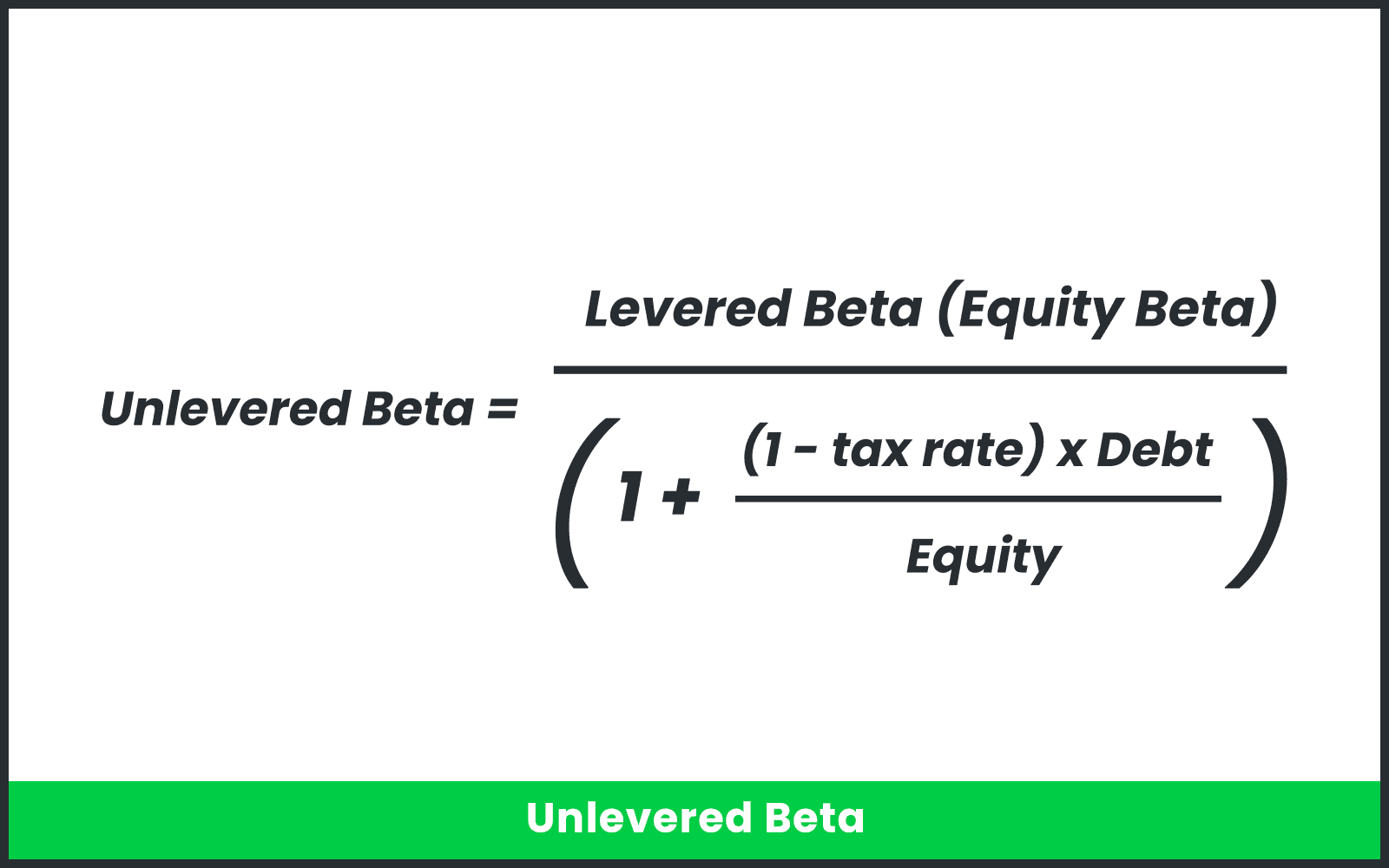 Unlevered Beta expressed as an equation.